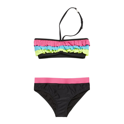 Colorblock Ruffle 2Pc Swim - Black