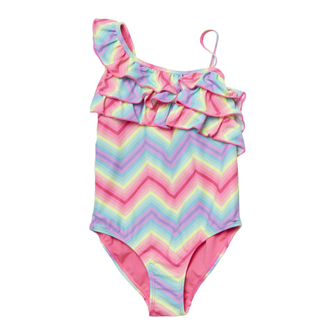 Ruffle Geo One Shoulder Swimsuit - Multi