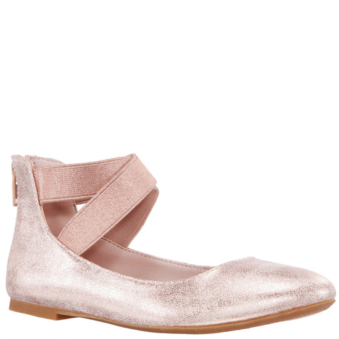 Distressed Ankle Strap Ballet - Rose Gold