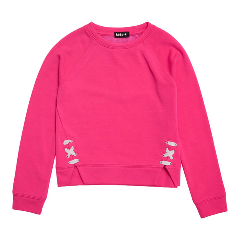 Lace Up Fleece Top - Pink Glo