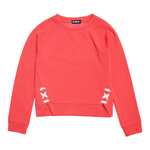 Lace Up Fleece Top - Calypso Coral