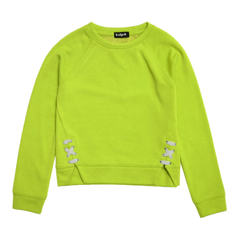 Lace Up Fleece Top - Acid Lime