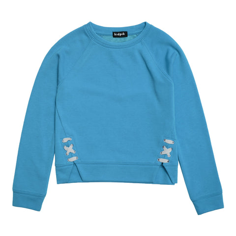 Lace Up Fleece Top - Dresden Blue
