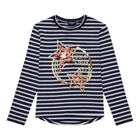 Sequin Star Stripe Tee - Kidpik Navy