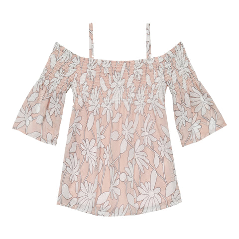 Wispy Floral Smocked Cold Shoulder Top - Rose Tan