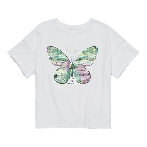 Sequined Butterfly Tee - White