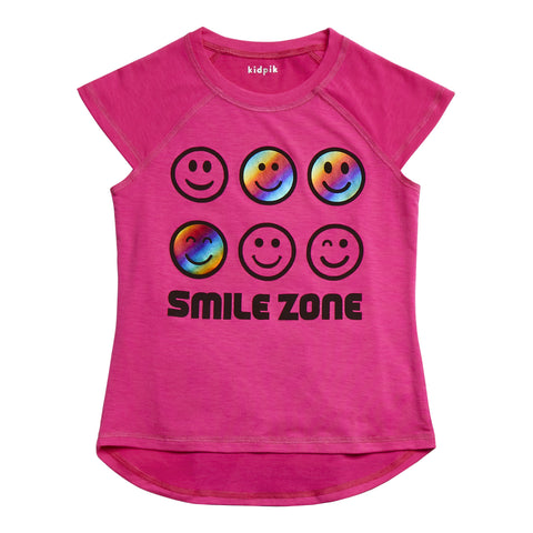 Smile Zone Tee - Pink Glo