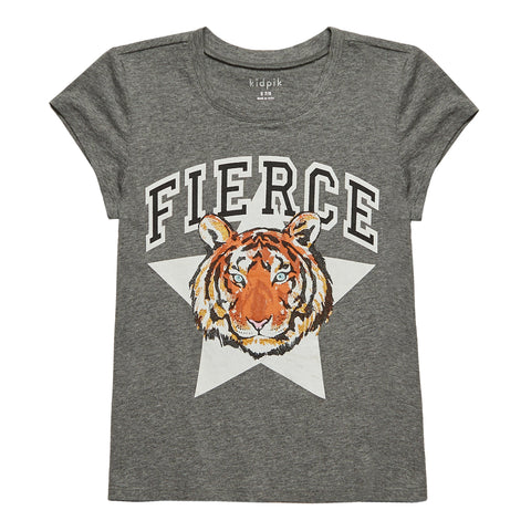 Fierce Tiger Tee - Medium Heather Grey