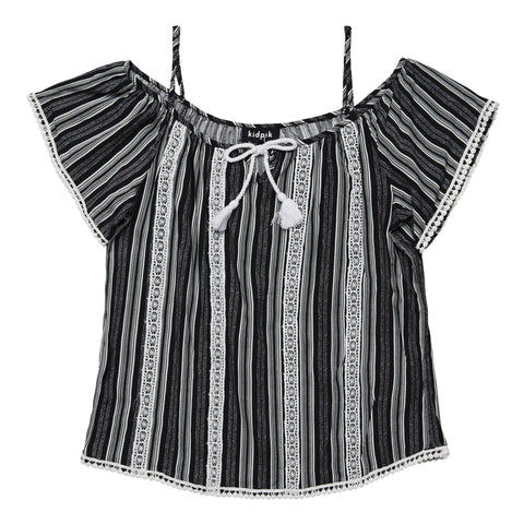 Lace Taped Stripe Cold Shoulder Top - Black