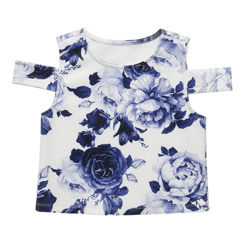 Cabbage Rose Cold Shoulder Top - Kidpik Navy