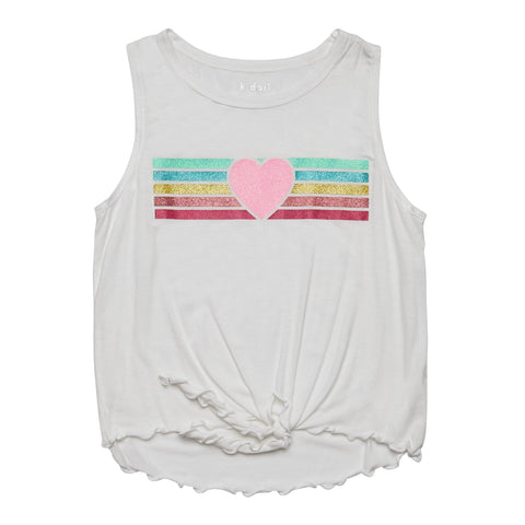 Stripe Heart Tie Front Top - White
