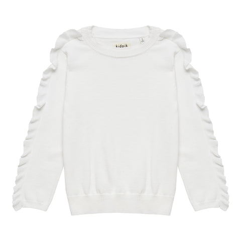 Ruffle Sleeve Sweater - White