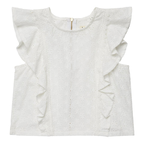 Eyelet Ruffle Top - White