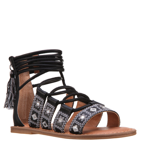 Geo Mirrored Braided Sandal - Black