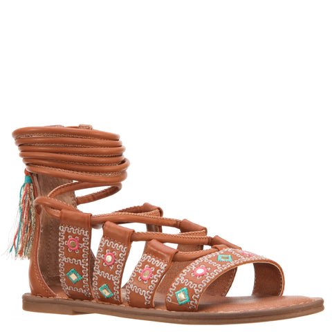 Geo Mirrored Braided Sandal - Tan