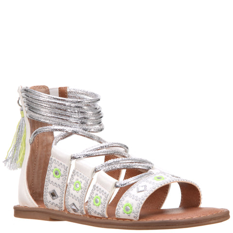 Geo Mirrored Braided Sandal - White