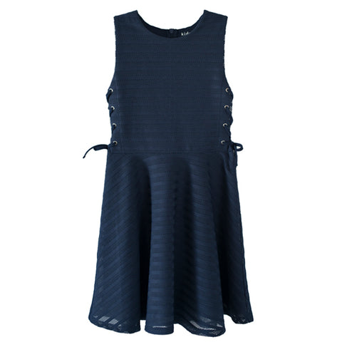 Side Lace Up Skater Dress - Kidpik Navy