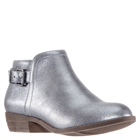 Crackle Side Buckle Bootie - Pewter