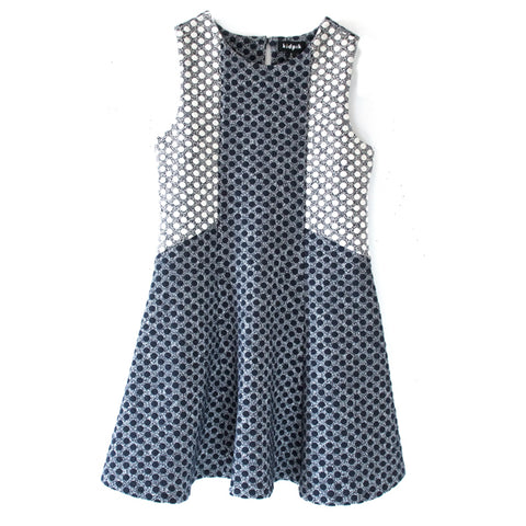 Textured Dot Skater Dress - Kidpik Navy