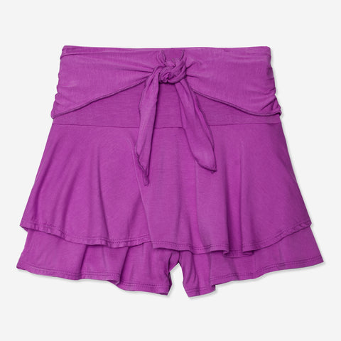 Tie Front Skort - Striking Purple