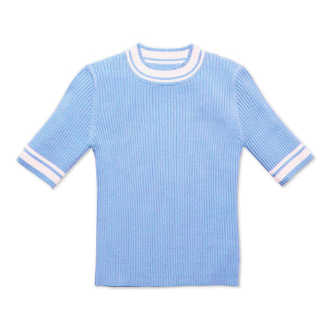 Tipped Rib Sweater - Blue Bell
