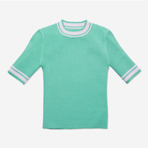 Tipped Rib Sweater - Jadite