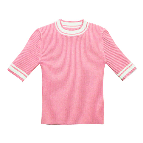 Tipped Rib Sweater - Rosebloom