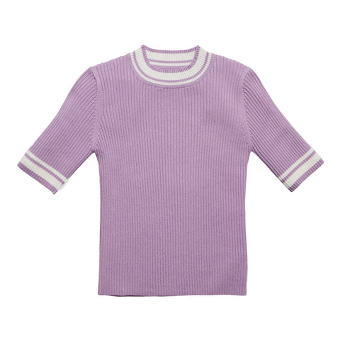 Tipped Rib Sweater - Sheer Lilac