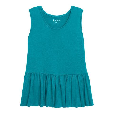 Twirl Ruffle Tank Top - Capri Breeze