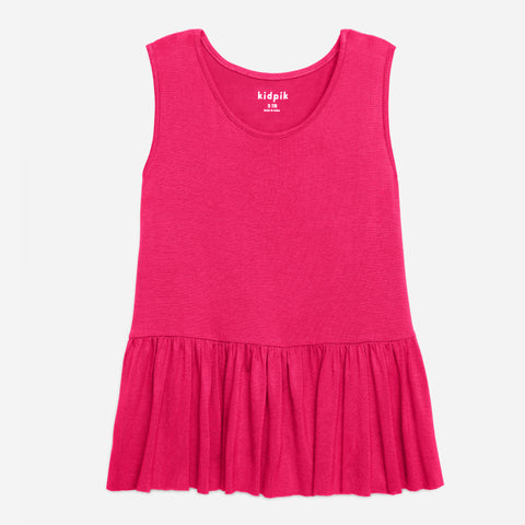 Twirl Ruffle Tank Top - Fuchsia Purple