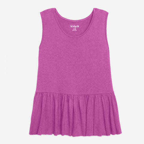 Twirl Ruffle Tank Top - Radiant Orchid