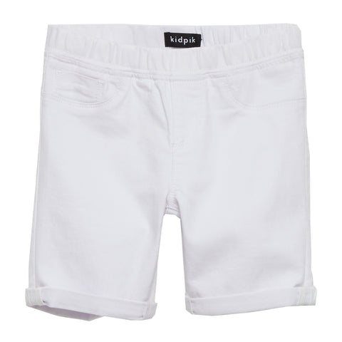 White Cuffed Denim Bermuda Shorts - White
