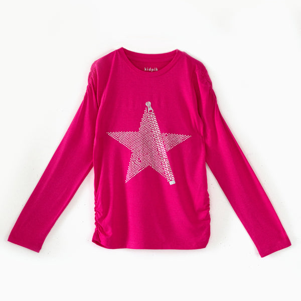 Zipper Star Ruched Tee