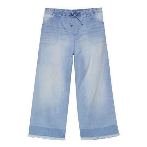 Wide Leg Denim Capri - Cuba Wash