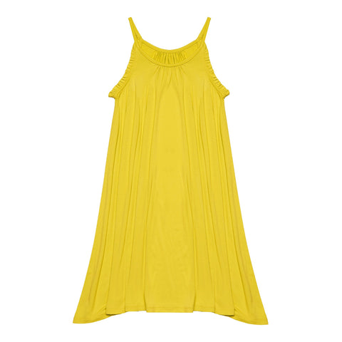 Ruffle Halter Swing Dress - Vibrant Yellow