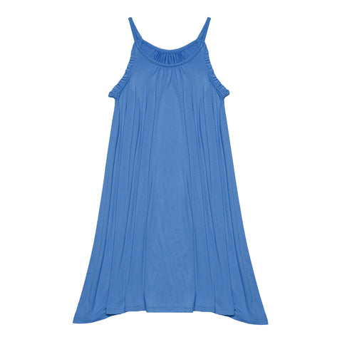 Ruffle Halter Swing Dress - Azure Blue