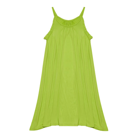 Ruffle Halter Swing Dress - Acid Lime