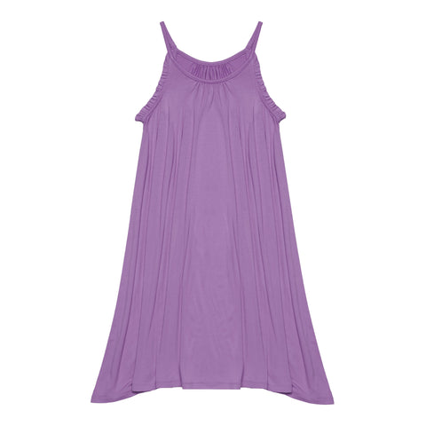 Ruffle Halter Swing Dress - Violet