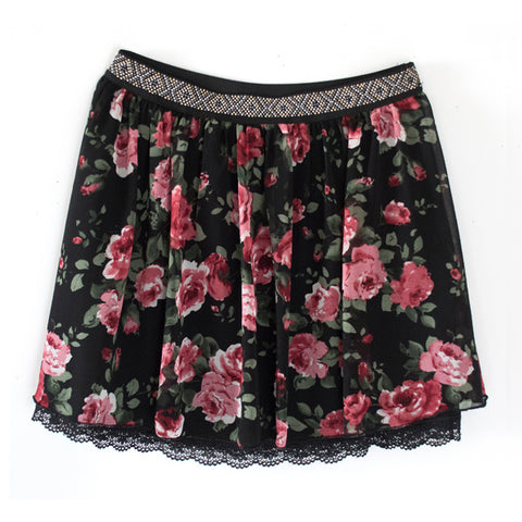 Rose Studded Chiffon Skirt - Black