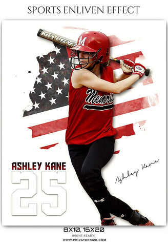 Softball sports photography templates with USA flag background.