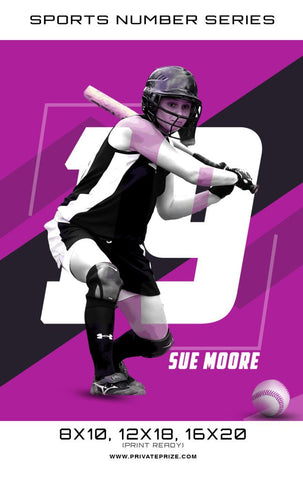 SoftBall- Sports Number Series Sports Photography Template