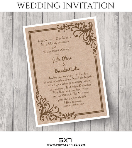 Julie&Brandon Wedding Invitation Card - Photography Photoshop Template