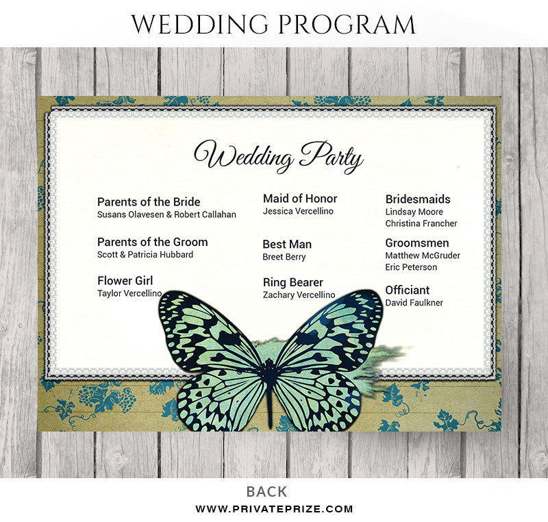 Steve And Paula Wedding Program - Photoshop wedding program template