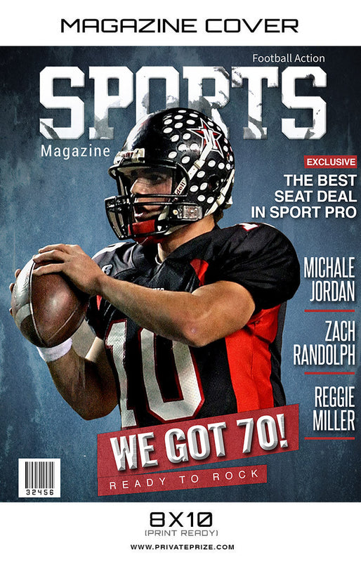 Football- Sports Photography Magazine Cover - Photography Photoshop Templates