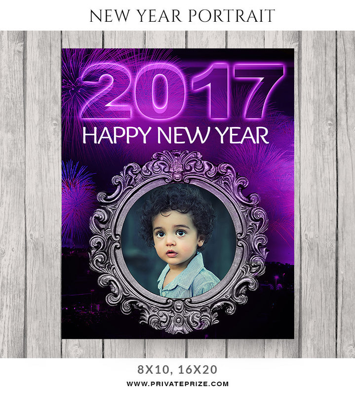 Purple New Year-Portrait - Photography Photoshop Templates