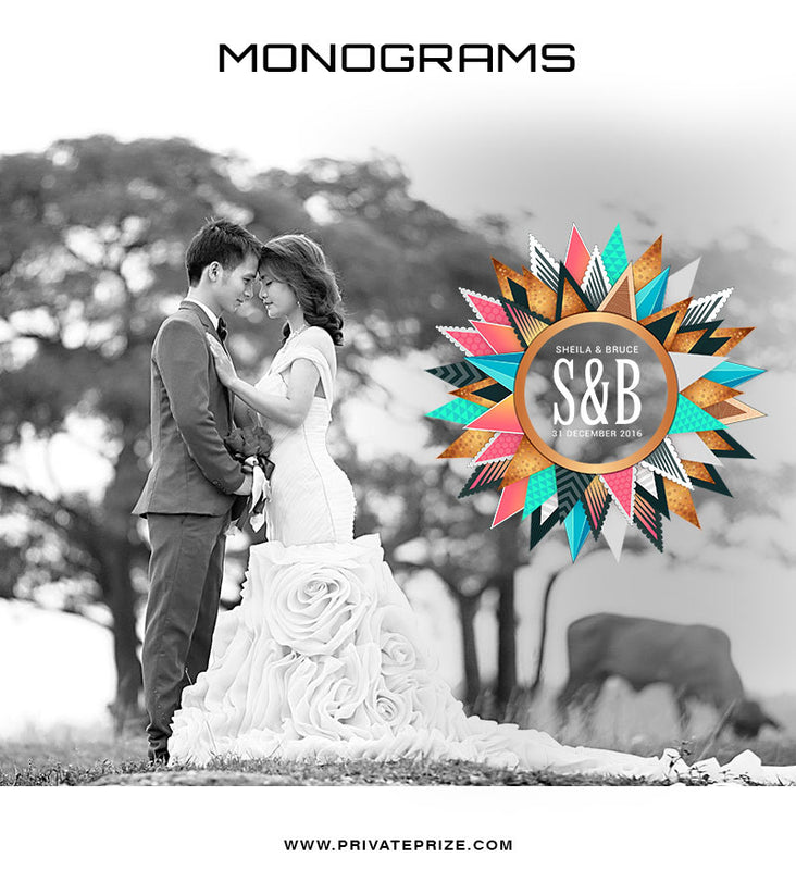 S&B Love Monogram - Photography Photoshop Template