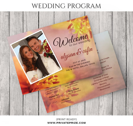 Alysan&cofin Wedding Program - Photography Photoshop Template
