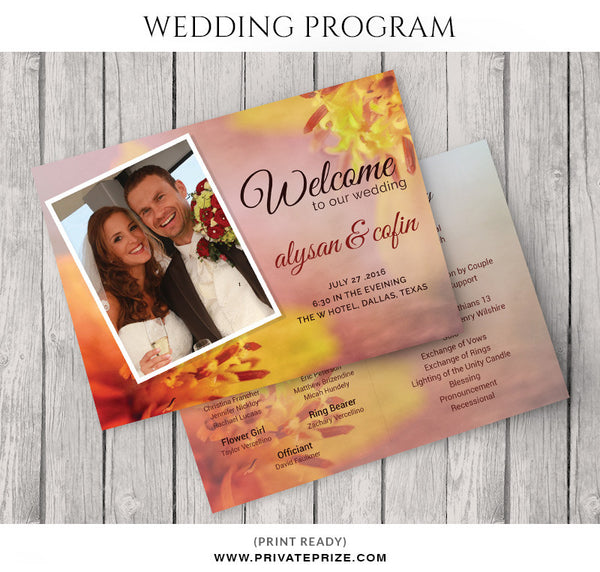 Alysan&cofin Wedding Program - Photography Photoshop Templates