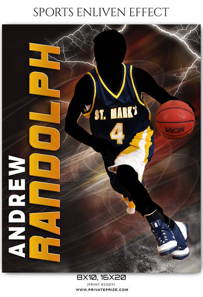 Andrew Randolph - Basketball Sports Enliven Effects Photography Template - Photography Photoshop Template
