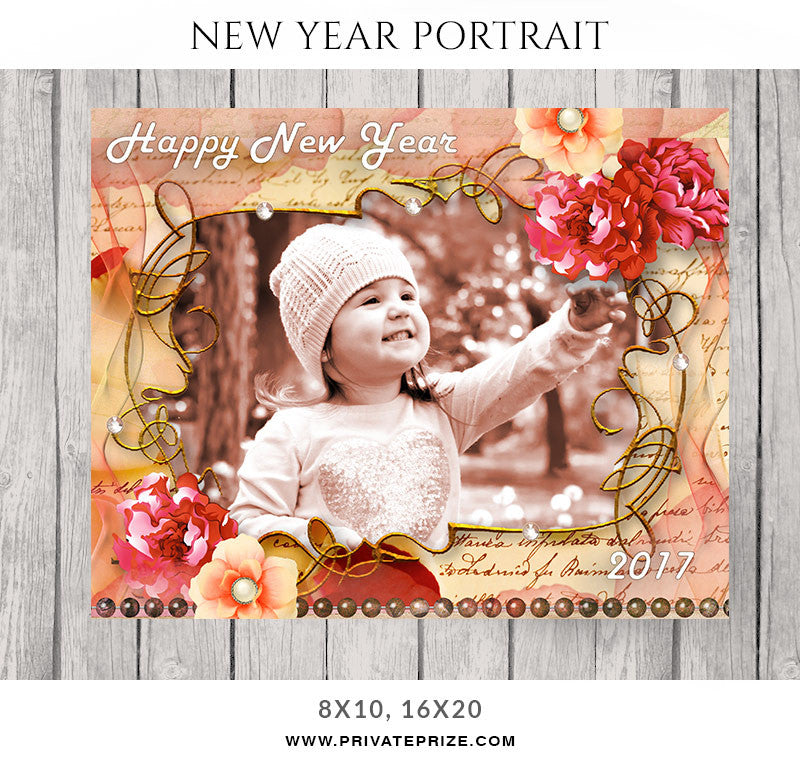Floral Wish New Year Portrait - Photography Photoshop Templates